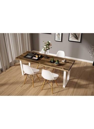 Woodesk Hayal Masif Ceviz Renk 140x80 Sandalyeli Masa Takımı CPT7335-140 Kahve